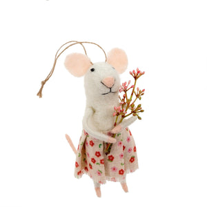 Felt Mouse, Posie with Flowers