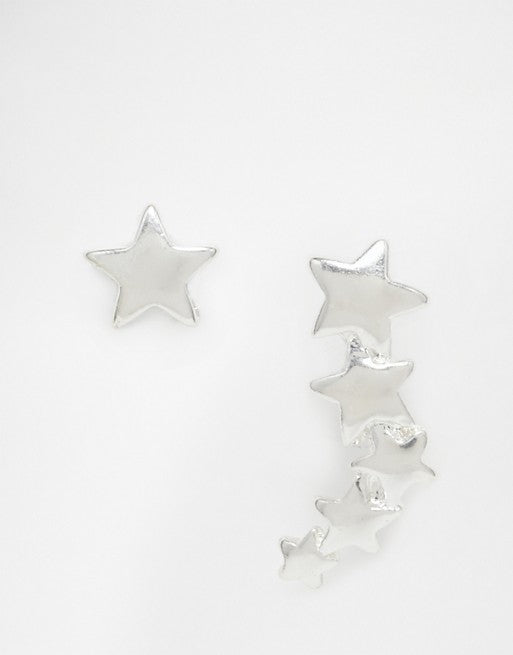 Pilgrim Shooting Star Climber & Stud Earrings, Silver