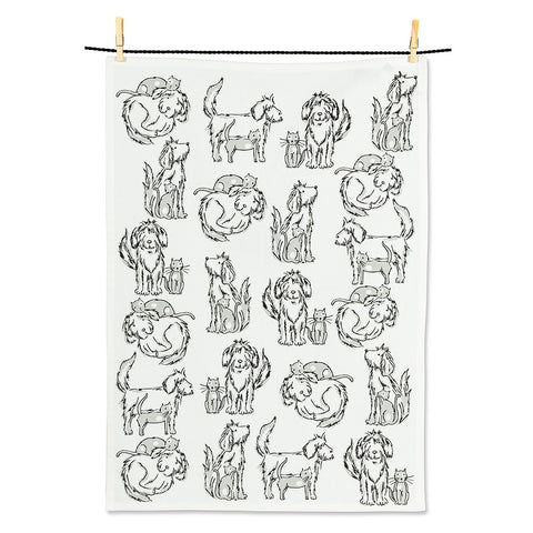 Dog & Cat Tea Towel