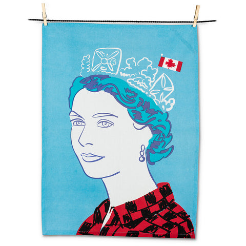 Queen in Checks Tea Towel