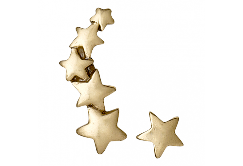 Pilgrim Shooting Star Climber & Stud Earrings, Gold
