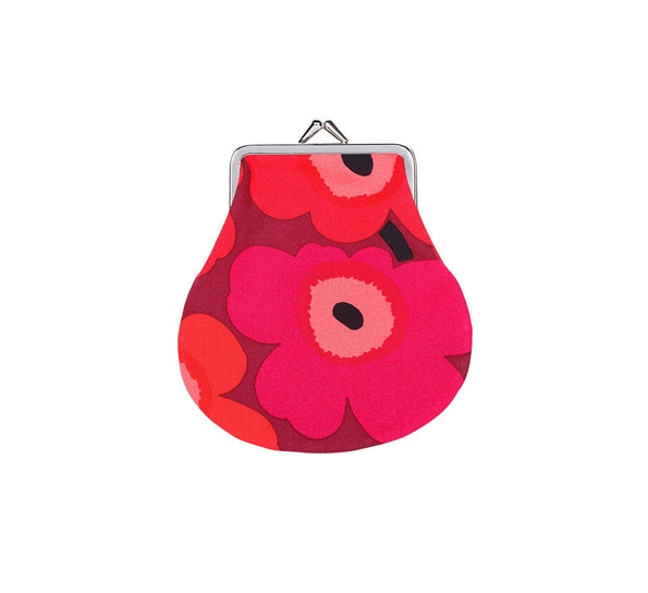 Marimekko Mini Unikko Coin Purse, Red & Fuschia
