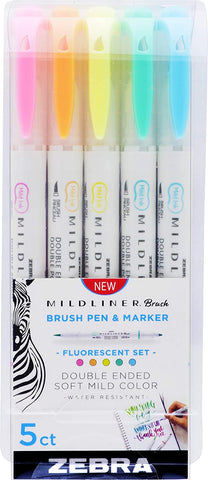 Midliner Double Ended Brush Pen, Set of 5, Fluorescent