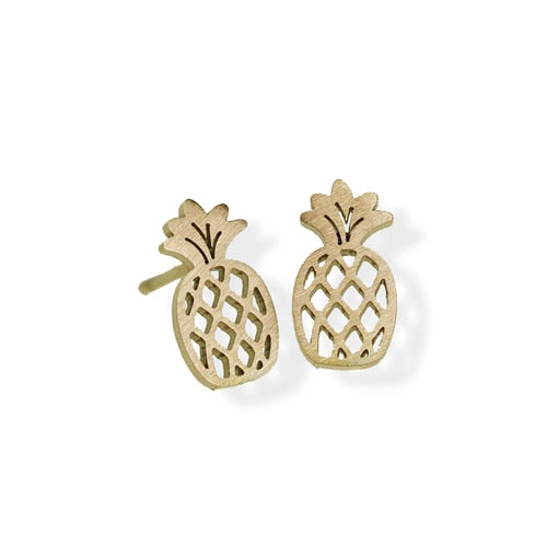 jj + rr Pineapple Earrings, Gold