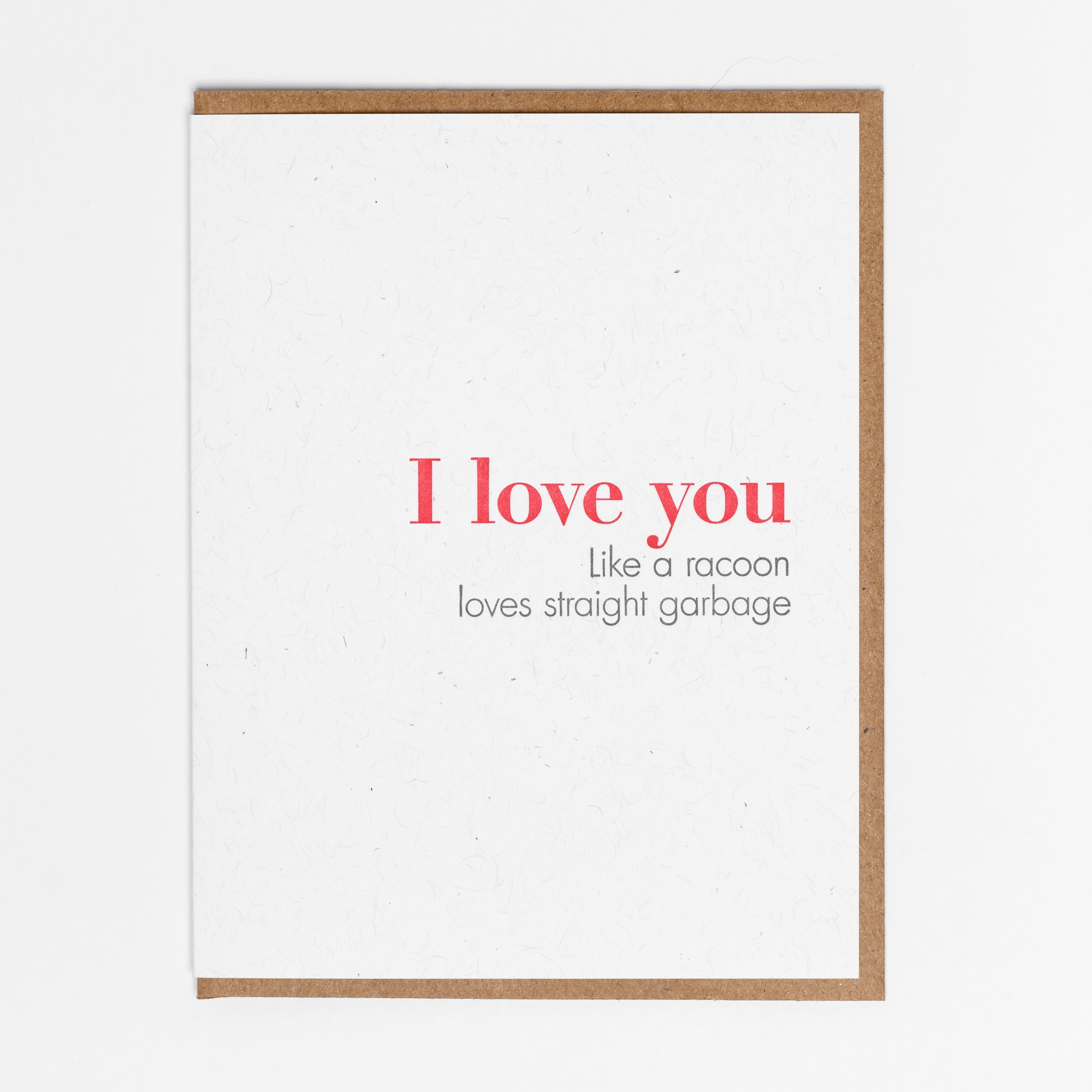 I Love You Like A Raccoon Loves Straight Garbage Card