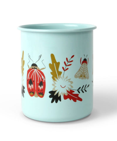 Up With Paper Luxe, Folk Art Beetles Enamel Cup