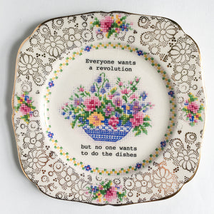 Lou Brown Vintage Everyone Wants a Revolution Decorative Plate