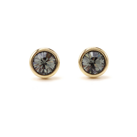 Lover's Tempo Swarovski Stud Earrings, Black Diamond