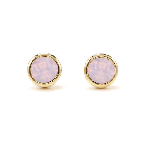 Lover's Tempo Swarovski Stud Earrings, Pink Opal