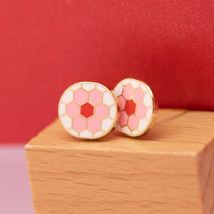 Hex Flower Earrings, Pink & Red