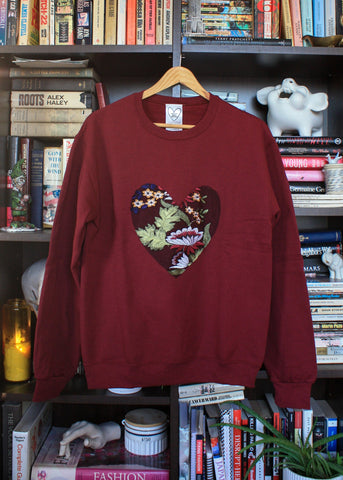 Copious Fashions Conscious Heart Sweater, Burgundy w/ Floral Heart