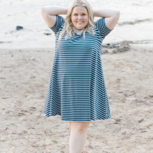 Blondie Apparel Riverbend Bamboo Dress, Navy & White Stripes