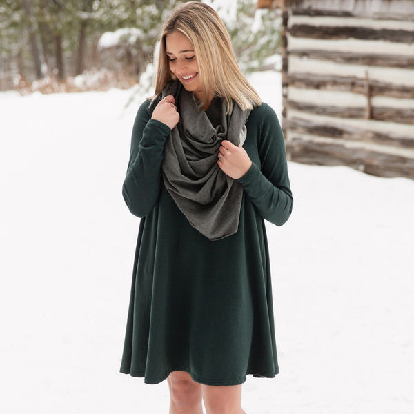 Blondie Apparel Riverbend Full Sleeve Dress, Green Gables