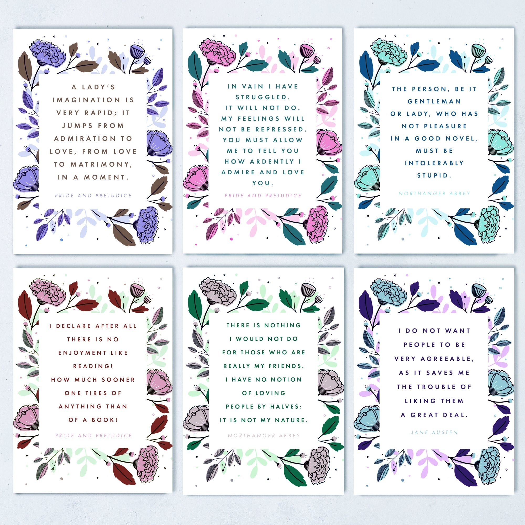 Jane Austen Postcards, Set of 6