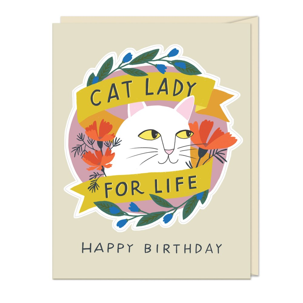Cat Lady For Life Happy Birthday Card & Sticker