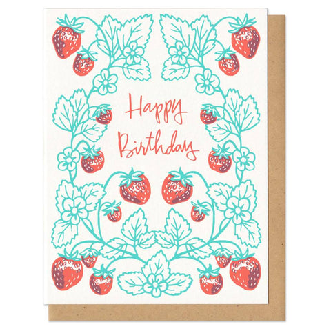 Frog & Toad Press Happy Birthday Strawberry Card