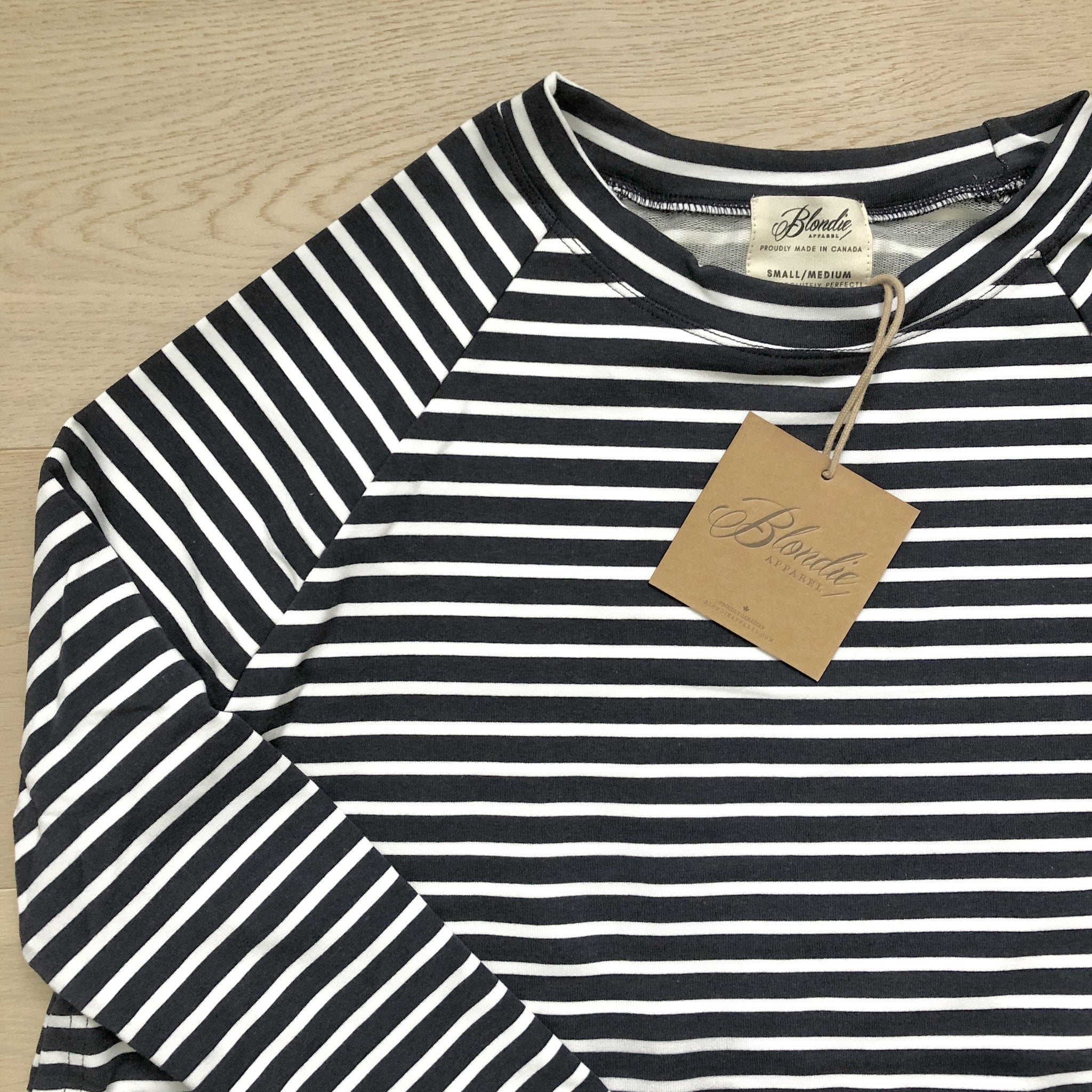 Blondie Apparel East End Bamboo Sweater, Navy & White Stripes