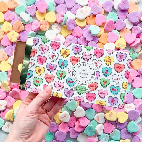 Alicja Confections Postcard Milk Chocolate Bar, Conversation Heart