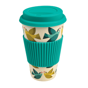 Bamboo Lidded Travel Cup, Love Birds