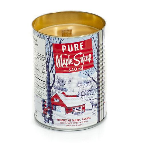 "Maple Syrup Tin, 4.75"" Wood Wick Candle"