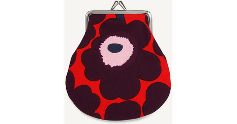 Marimekko Mini Unikko Coin Purse, Red & Violet