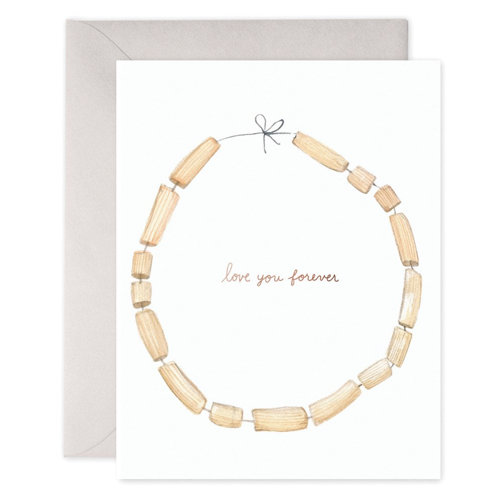 E Frances Love You Forever Macaroni Necklace Card