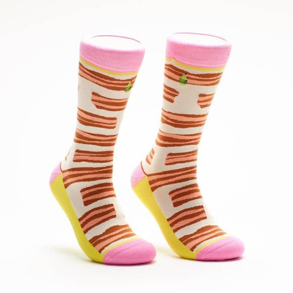 Woven Pear Bacon & Eggs Socks, Women's
