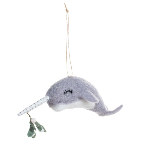 Felted Wooly Narwhal with Mistletoe
