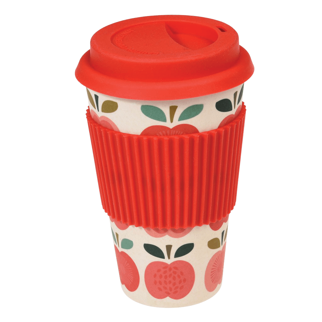 Bamboo Lidded Travel Cup, Vintage Apple
