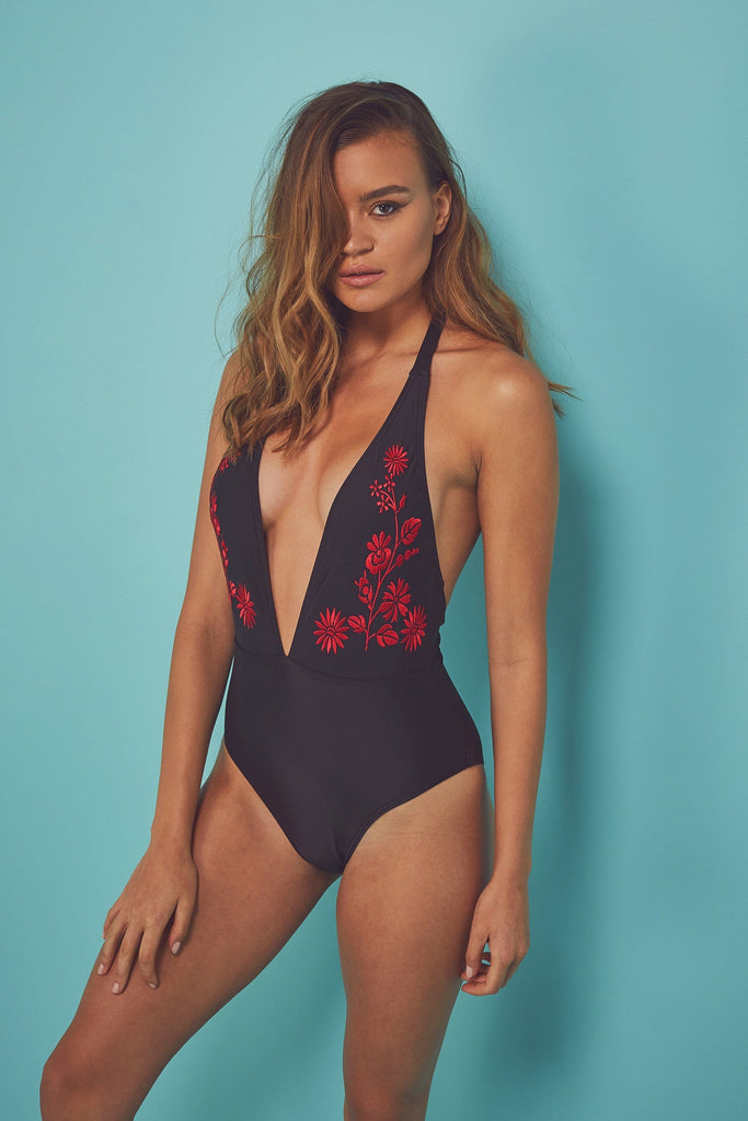 Wolf & Whistle Eco Embroidered tassle swimsuit
