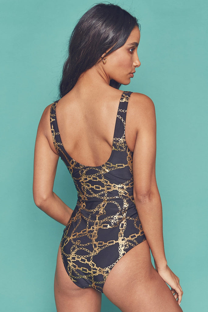 Wolf & Whistle Gold chain twist front swimsuit