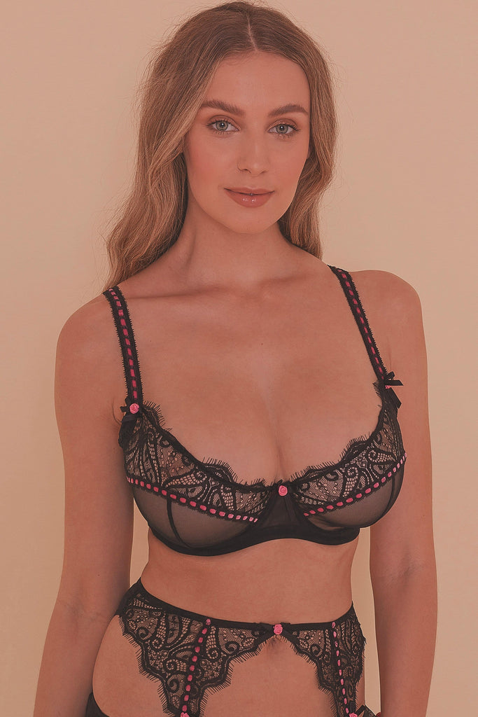 Monica Ribbon Slot Lace Bra Fuller Bust