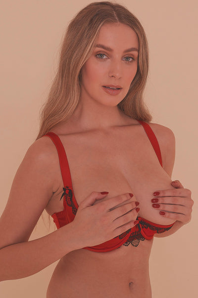 Arlene 1/4 FB Cup Red Satin Black Lace Bra DD - H