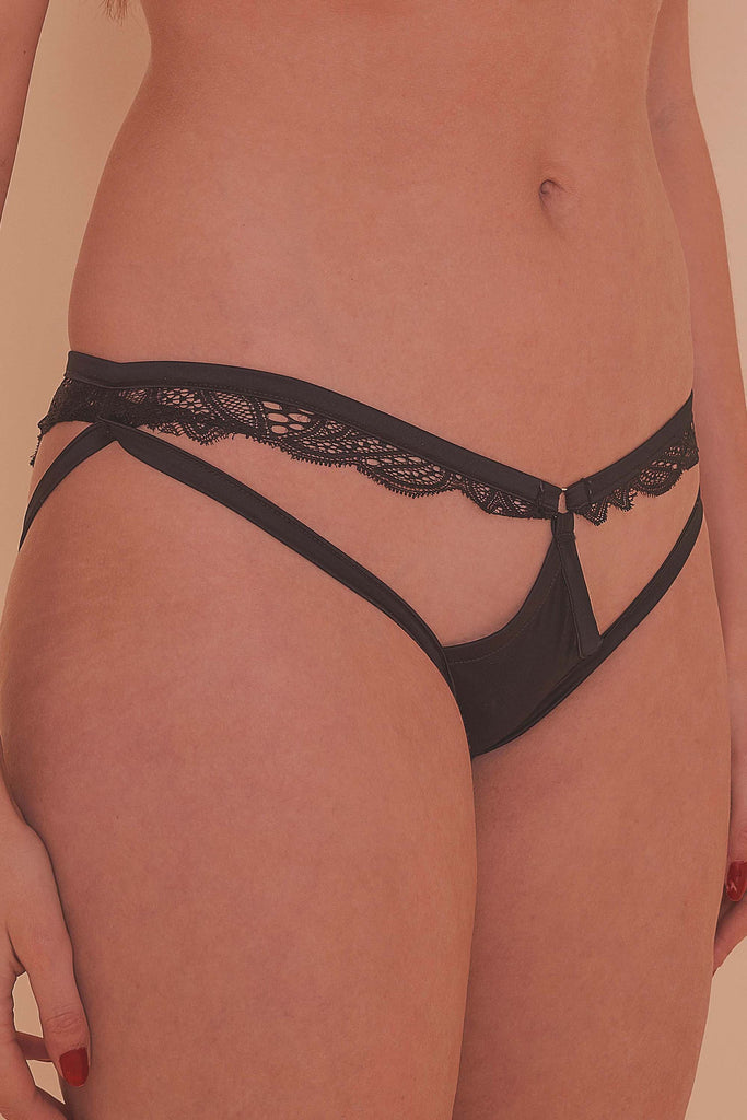 Peek & Beau Ida satin cut out knickers with lace