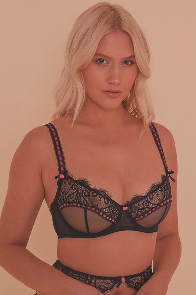 Monica Ribbon Slot Lace Bra Core
