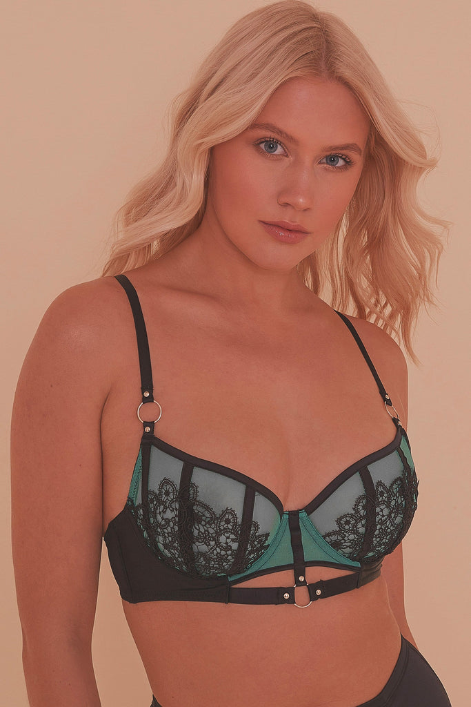 Emelda Ring Detail Satin & Lace Bra A - D Cups