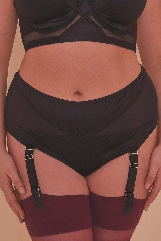 Aurora Black Mesh & Satin High Waist Brief Curve
