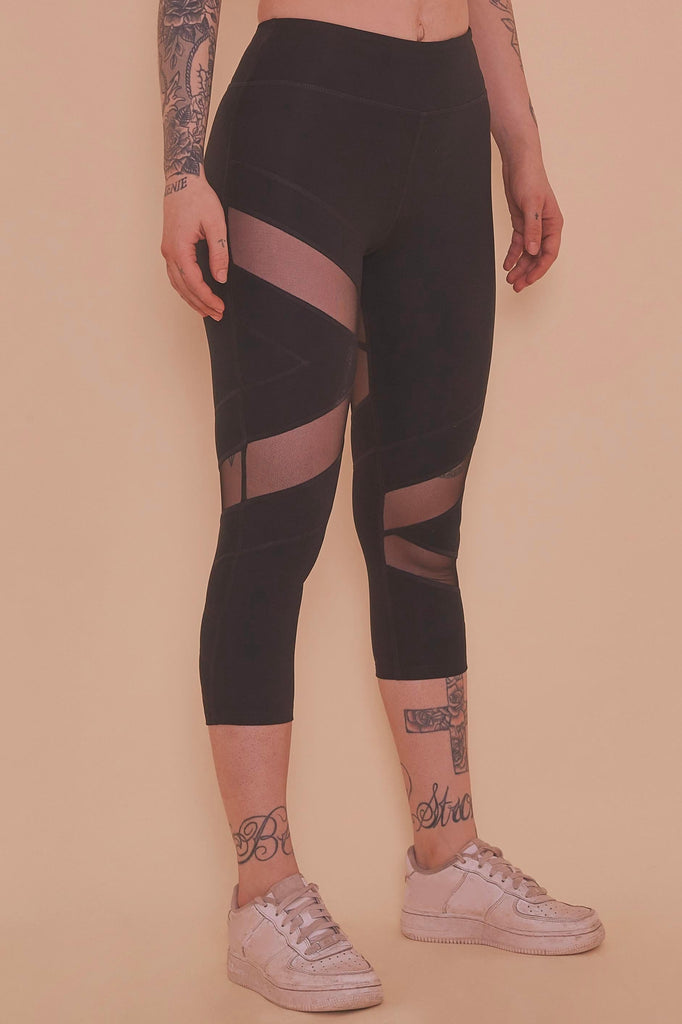 Wolf & Whistle Mesh Panel Crop Leggings Black