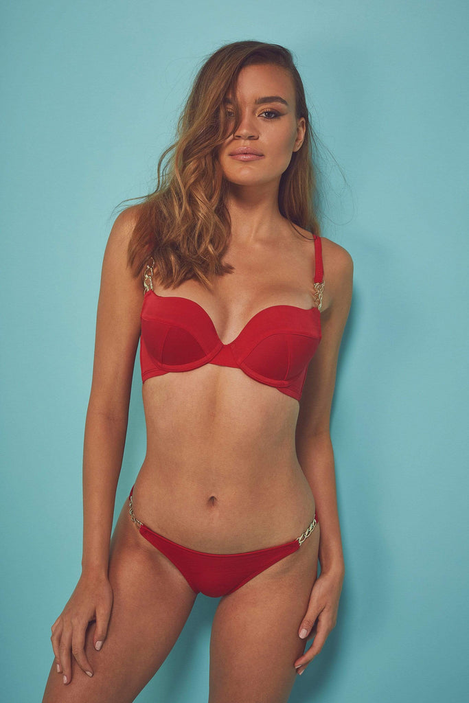Wolf & Whistle Red chain push up bikini top