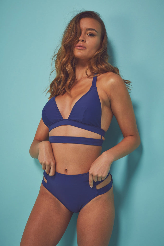 Wolf & Whistle Jessica Eco bikini top blue B - F Cups