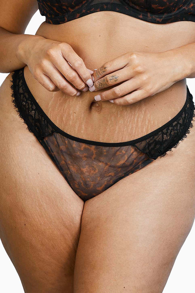 Deja Day Rosalyn Black Tortoiseshell Lace Brazilian Brief