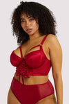 Gabi Fresh Aysha Red Lace Up Balcony Bra