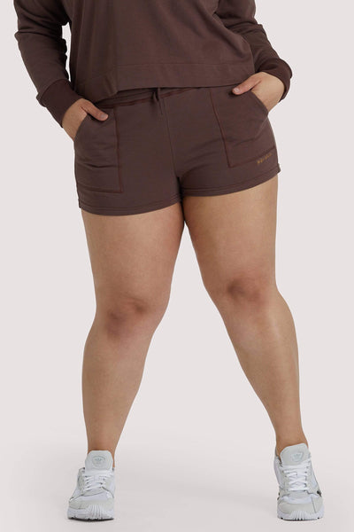 Wolf & Whistle Brown Tie Waist Curve Shorts