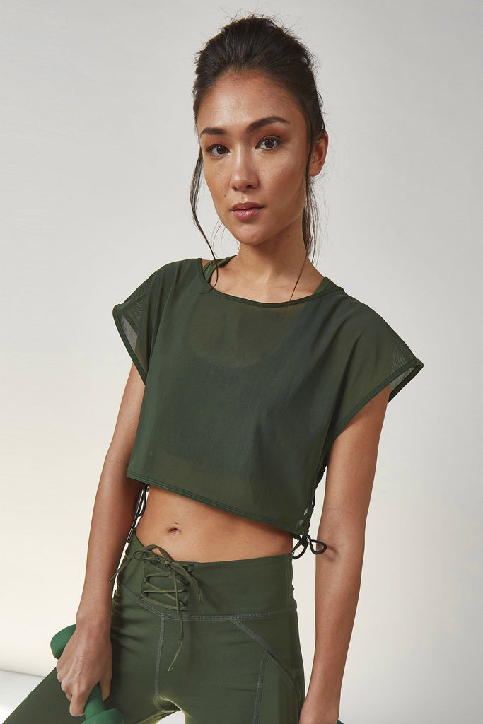 Wolf & Whistle Mesh Crop Top Khaki