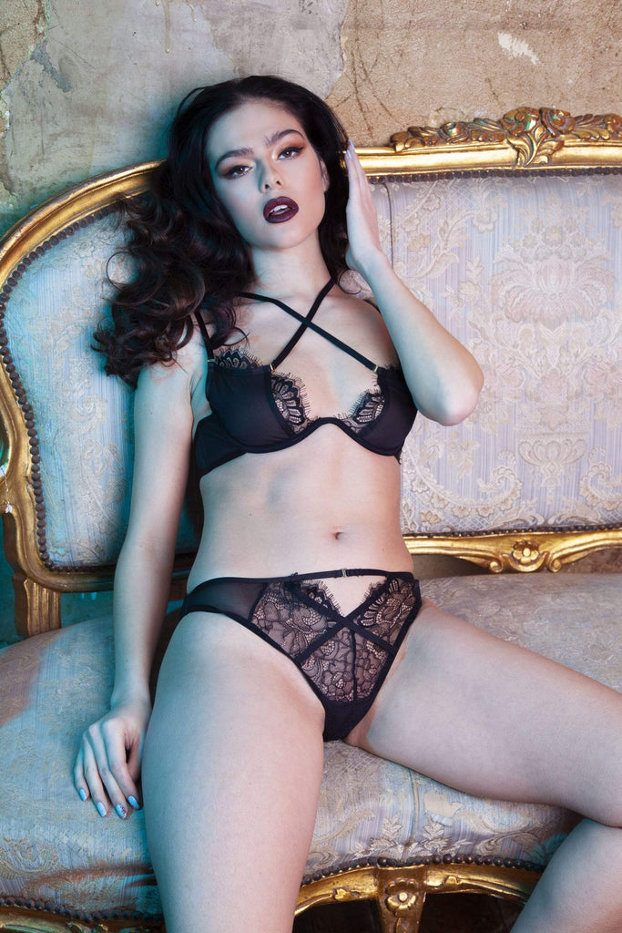 Peek & Beau Polly Black lace cross over bra A - E