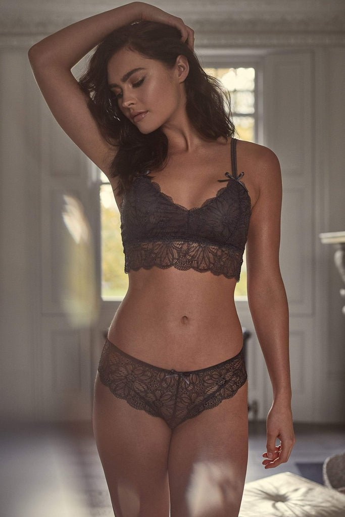 Dark Grey lace brief