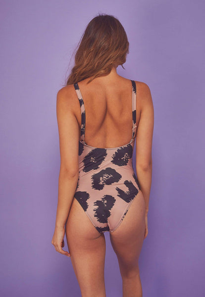 Wolf & Whistle Brown Eco Leopard Swimsuit