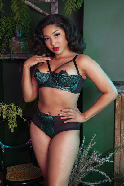 Bettie Page Emerald Lace High Waisted Brief