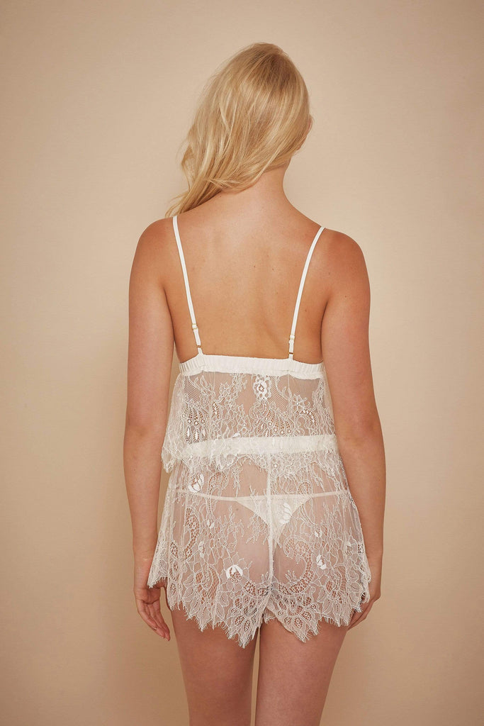 Wolf & Whistle Alexia Ivory Chiffon and Lace PJ Set
