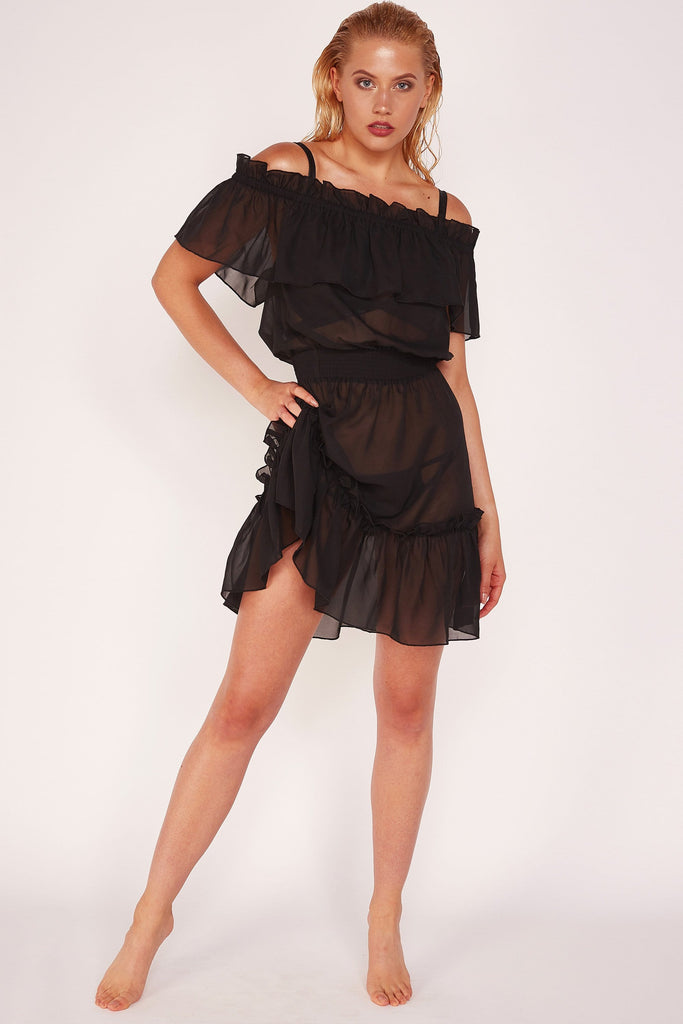 Wolf & Whistle Bardot Frill Beach Dress Black
